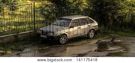 Kazakhstan, Ust-Kamenogorsk, july 30, 2016: lada, old car, old soviet car in the street, retro car, 1980s, lada samara, lada sputnik, zhiguli, hatchback