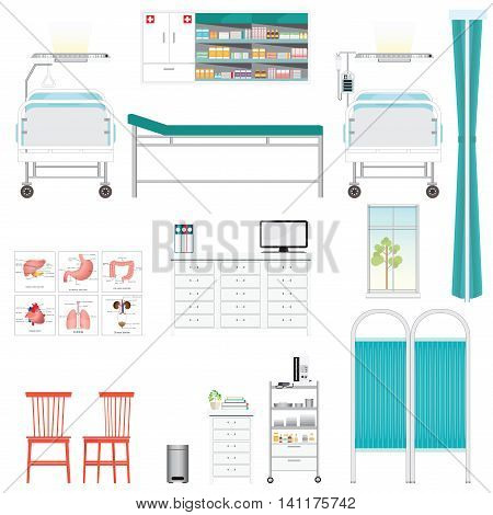 Medical equipment and furniture in hospital counter chairsBed Side Control infusion pump disable bed infusion bag medical health care vector illustration.
