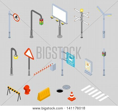 Isometric traffic management icons. Urban 3D vector street traffic icons. Street signs, zebra crossing and street light