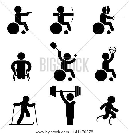Sport paralympic games icons. Disabled sport and invalid people sport signs