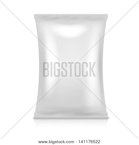 Foil pack vector. Food snack bag. Vacuum packaging product illustration