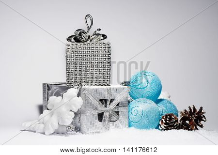 Merry Christmas trendy shinny decorations in blue color composition