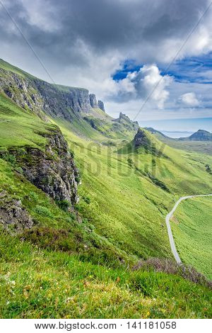 Pinnacles of Scottish Highlands, Quiraing Hill in the Isle of Skye