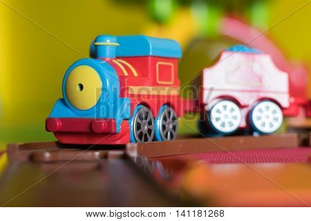 Child's Plastic Toy Train Close Up With Selective Focus