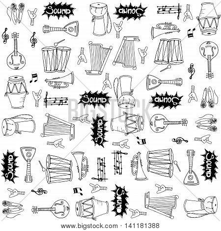 Collection stock music doodles set vector art