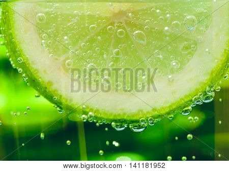 Lemon In Sparcle Water Drops