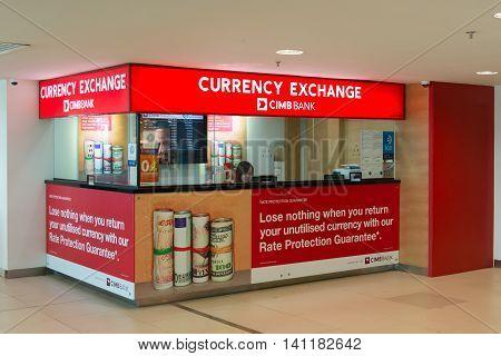 Penang Malaysia - June 28 2016: CIMB Bank currency exchange booth at Penang International airport