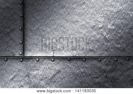 grunge metal background. rivet on metal plate. material design 3d illustration.