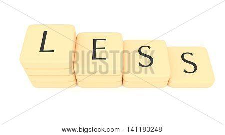 Stairs of letter tiles: less 3d illustration