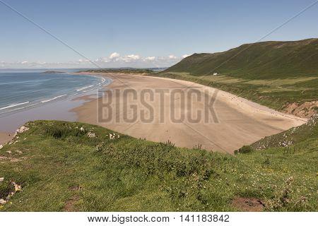 A beautiful day overlooking Rhossili Bay, shot at Rhossili, Gower Peninsula, South Wales, UK