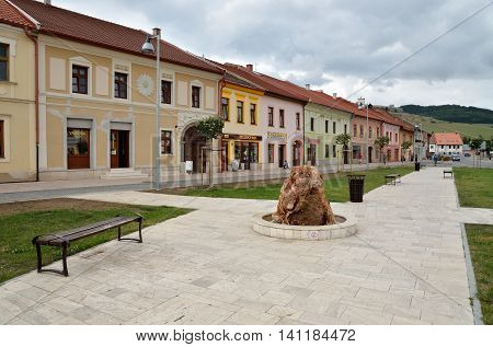 SPISSKE PODHRADIE SLOVAKIA - AUGUST 18 2015: Old houses and shops in the center Spisske Podhradie Twon Slovakia.