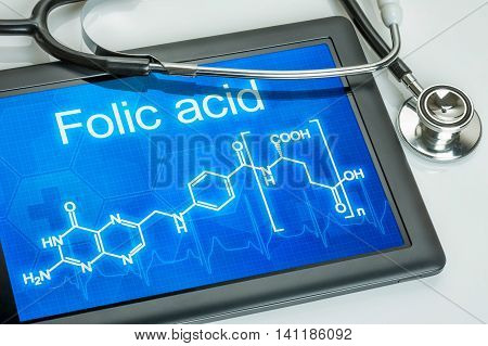 Tablet With The Chemical Formula Of Folic Acid