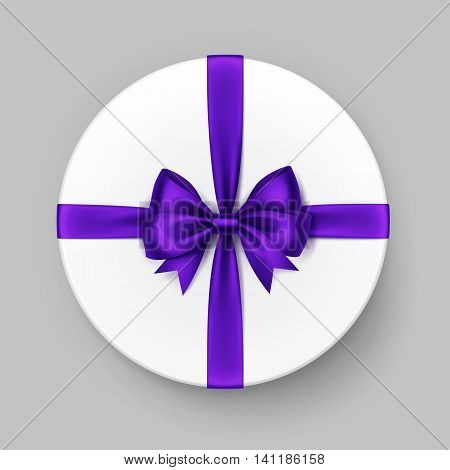 Vector White Round Gift Box with Shiny Violet Purple Satin Bow and Ribbon Top View Close up Isolated on Background