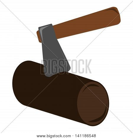 Old stylish simple comic axe and log. The axe is stuck to the log of wood. Isolated vector illustration.