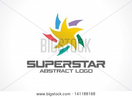 Abstract business company logo. Corporate identity design element. Social Media, award, talent logotype idea. Gold superstar, colorful star segments group around, yellow polygon concept. Vector icon