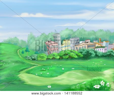 Digital Painting Illustration of a old road around a small town. Cartoon Style Character Fairy Tale Story Background.