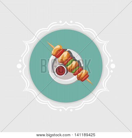 Vector kebab icon in retro vintage frame.