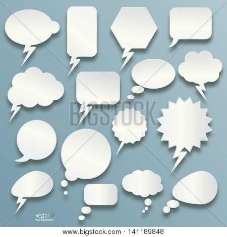 Cartoon bubbles speech and thought bubble set