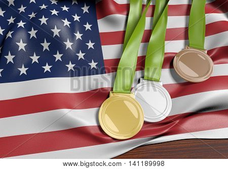 United States and 2016 summer games sports competition medals, 3D rendering