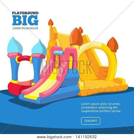 Vector illustration of inflatable castles and children hills on playground. Pictures for your personal design project with place for your text. Isolate on light background
