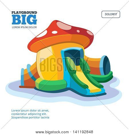 Vector illustration of inflatable castles and children hills on playground. Picture for cover design isolate on light background.