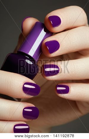 Bottle Of Nail Polish. Beauty Hands. Trendy Stylish Colorful Nai