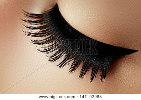 Beautiful Macro Shot Of Female Eye With Extreme Long Eyelashes A