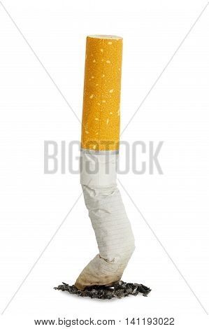 macro of put out cigarette isolated on white