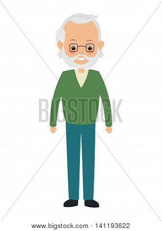 flat design elder man icon vector illustration