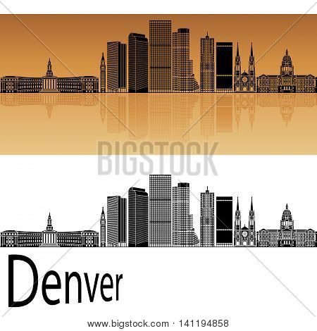 Denver skyline in orange background in editable vector file