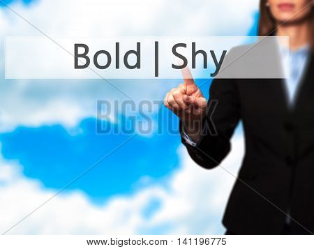 Bold Shy -  Young Girl Working With Virtual Screen An Touching Button.