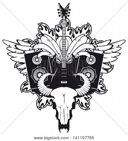 emblem with an electric guitar wings speakers and cow skull
