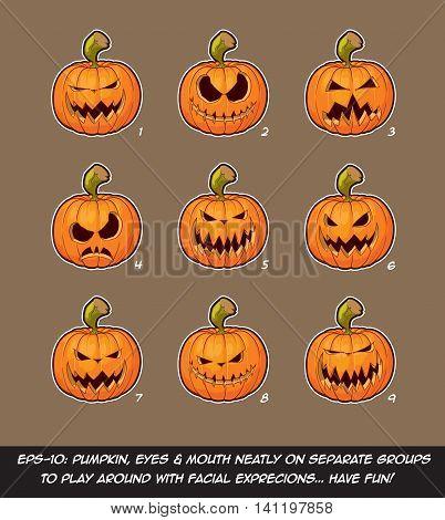 Jack O Lantern Cartoon - 9 Scary Expressions Set