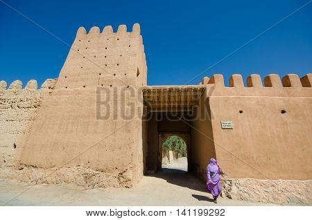 Fortified walls of the town of Tiznit Morocco at Bab Targa gate