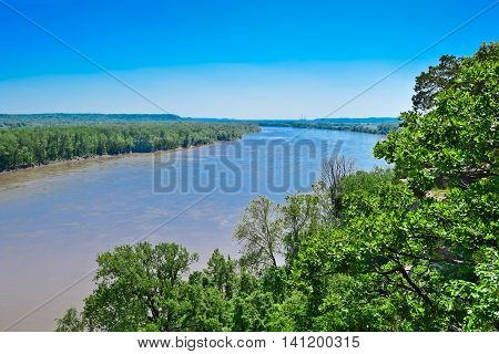 Missouri River with forest in the spring