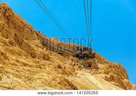 The ropeway to the Masada fortress - Israel