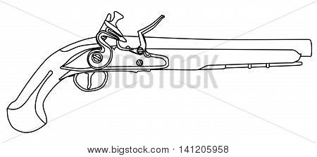 An of old style flintlock dueling pistol isolated on white.