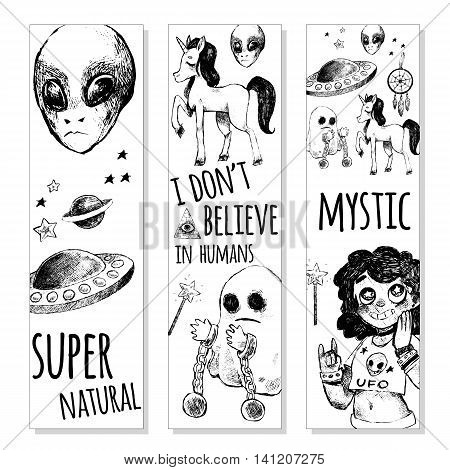 Set of bookmarks. Flying saucer alien ghost unicorn Dreamcatcher crystal ball magic wand girl. Vector illustration sketch style. Mystery strange unusual supernatural. Black and white.