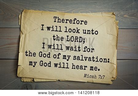 Top 500 Bible verses. Therefore I will look unto the LORD; I will wait for the God of my salvation: my God will hear me.   Micah 7:7