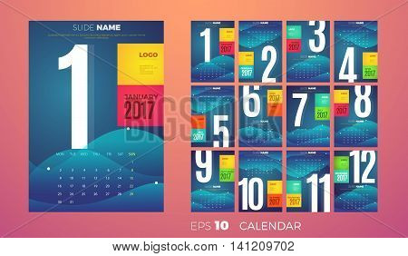 Wall Monthly Calendar for the year 2017. Vector eps10 template