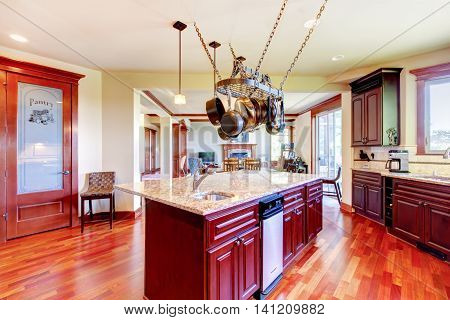 Luxury Modern Kitchen Room With Mahogany Storage Combination .