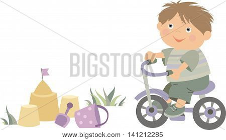 little boy riding a bike  vector illustration