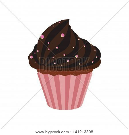 chocolate muffin cupcake sweet dessert delicious icon. Isolated and flat illustration. Vector graphic