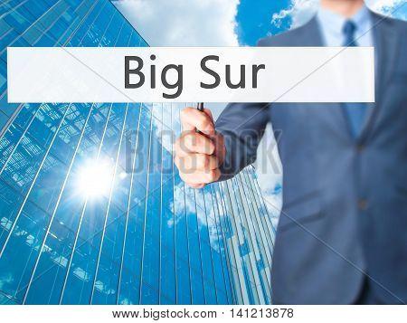Big Sur - Businessman Hand Holding Sign