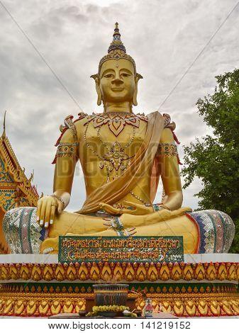 The golden Buddha in little temple at bangpain ayuttha thailand.