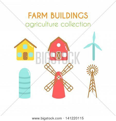 Farm buildings illustrations. Farmer house and granary. Cowshed and windmill. Wind power turbine design. Cartoon farm elements. Flat argiculture collection.