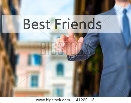 Best Friends - Businessman Pressing Virtual Button