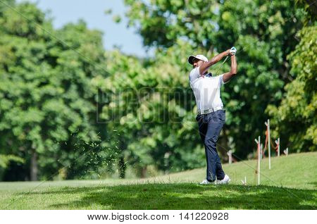 CHONBURI - JULY 31 : S Chikkarangappa of India in King's Cup 2016 at Phoenix Gold Golf & Country Club Pattaya on July 31 2016 in Chonburi Thailand.