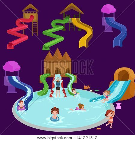 Waterpark aquapark playground with slides and splash pads for family fun vector illustration.