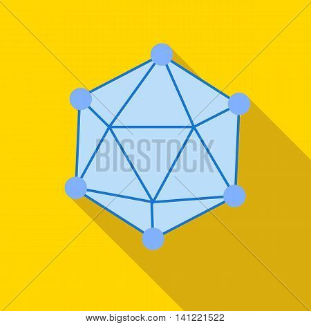 Polyhedron icon in flat style on a yellow background